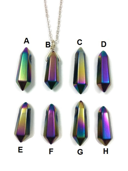 Titanium Rainbow Hematite Necklace | Rainbow Aura Crystal Point Necklace