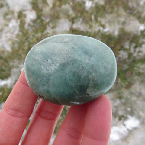 Blue Amazonite Crystal Palm Stone