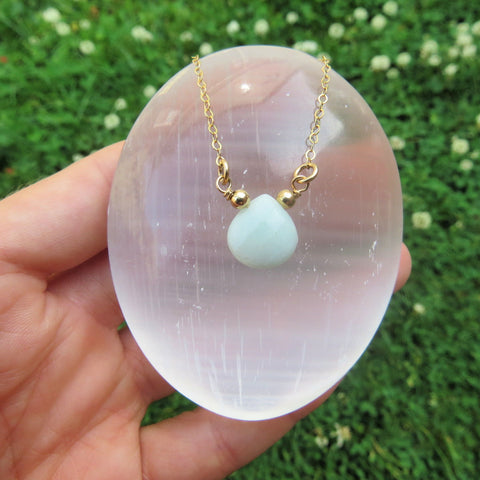 Aqua Chalcedony Necklace - Teardrop Crystal Necklace - Stone Choker