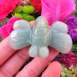 Carved Stone Bumble Bee Crystal Figurine - Green Aventurine