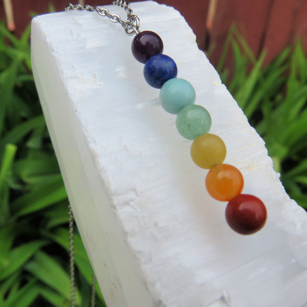 Beaded Crystal Stone 7 Chakra Necklace