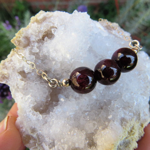 Red Garnet Necklace - Round Stone Beads - Side 2