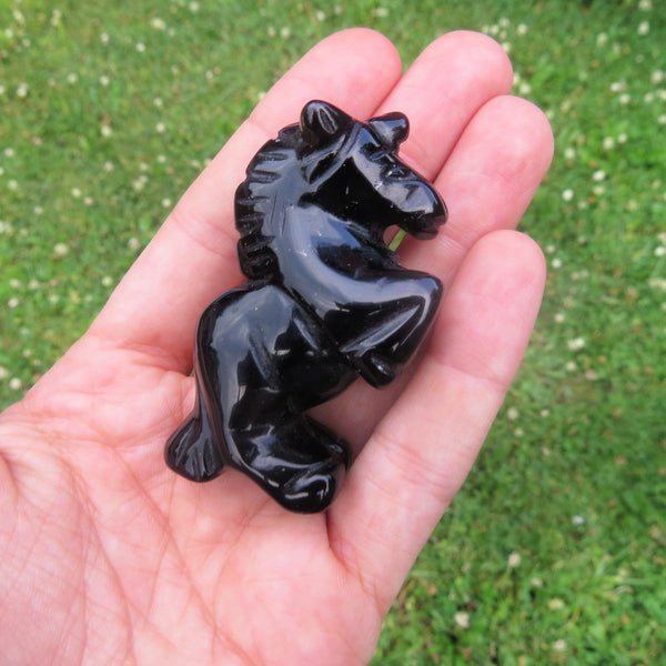 Carved Stone Unicorn Crystal Figurine | Black Unicorn Carving in Obsidian