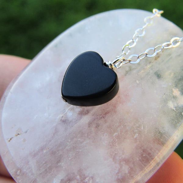 Black Onyx Crystal Heart Necklace