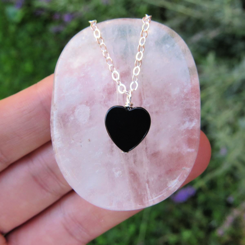 Black Onyx Crystal Heart Necklace - Heart Stone Necklace