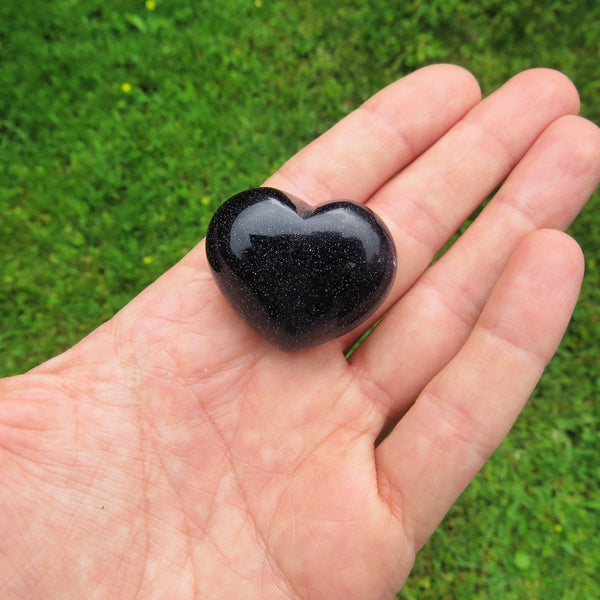 Carved Crystal Heart Stone - Blue Goldstone