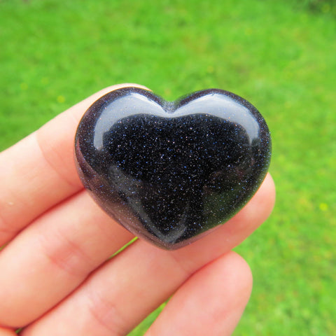 Blue Goldstone Carved Crystal Heart - Spakrling Stone Heart