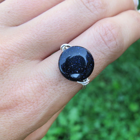 Blue Goldstone Ring - Wire Wrapped Crystal Ring in Silver