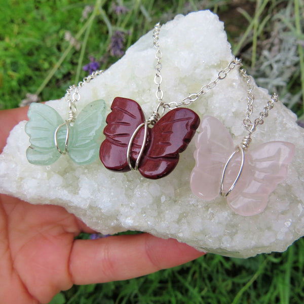 Wire Wrapped Crystal Butterfly Necklace