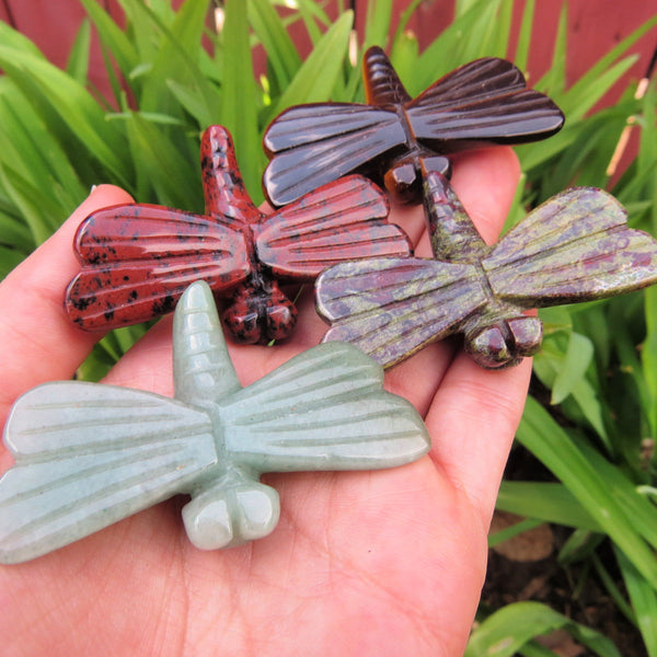 Carved Stone Dragonfly Crystal Figurine - Large 2.5""