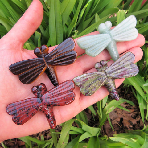 Carved Stone Dragonfly Crystal Figurine - Carved Crystal Animal
