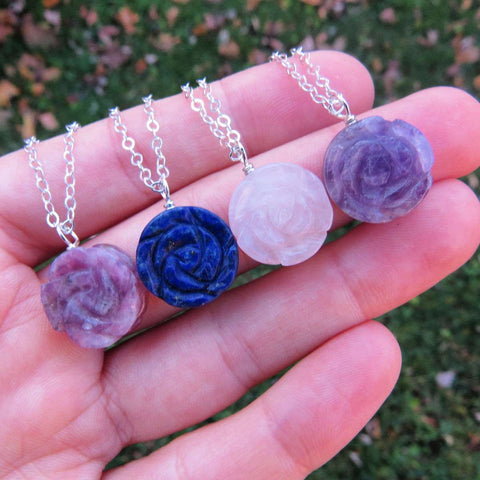 Carved Crystal Flower Necklace - Carved  Rose Stone