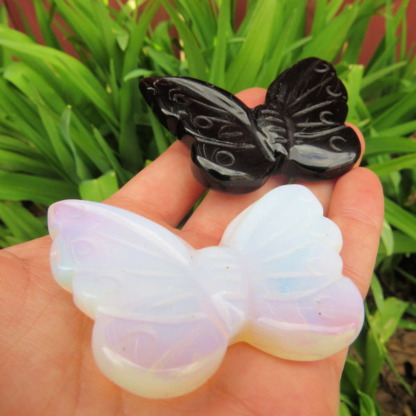 Large Carved Stone Butterfly Crystal Figurine | Black Obsidain & Opalite Crystal Animal