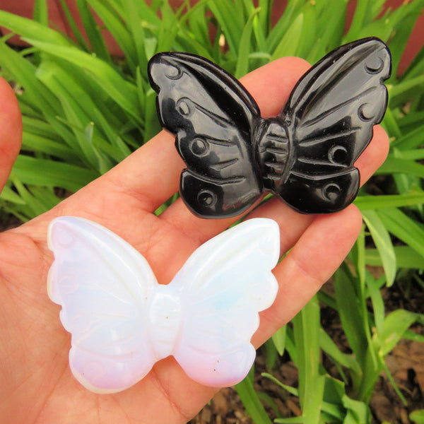 Carved Stone Butterfly Crystal - Black Obsidian & Opalite
