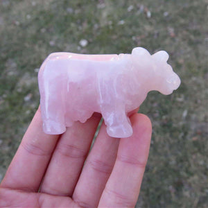 Carved Stone Cow Figurine 2.25"