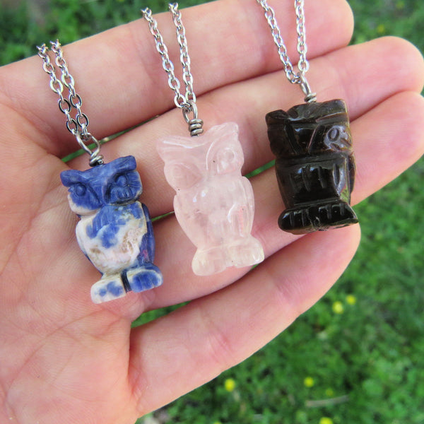 Owl Crystal Necklace - Sodalite, Rose Quartz, Tigers Eye