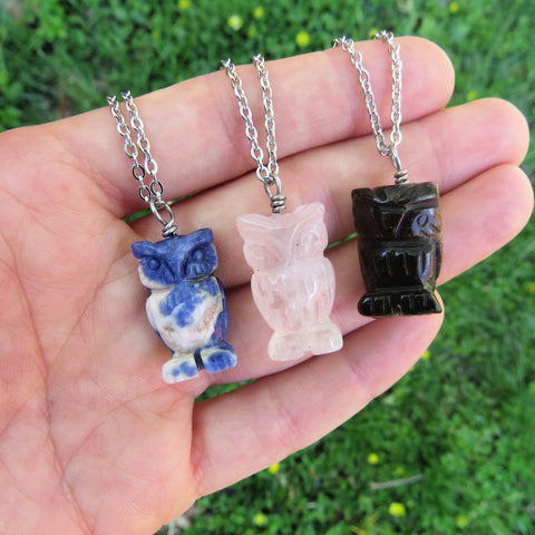Carved Crystal Owl Necklace - Small Stone Animal Necklace