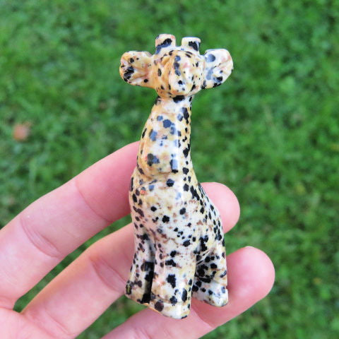 Carved Stone Giraffe Crystal Figurine | Small Animal Statue