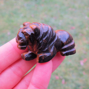 Carved Stone Lion Crystal FIgurine - Tigers Eye Stone Animal