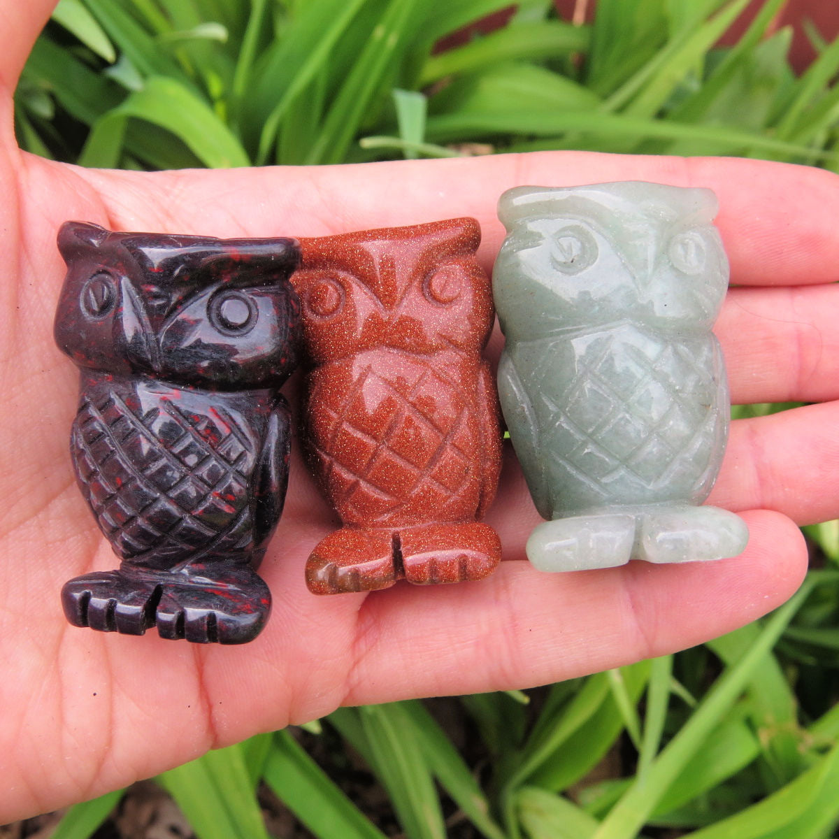 Carved Stone Owl Figurine - Crystal Animal - Carved Bird Statue