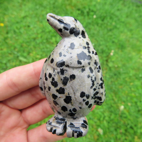 Carved Stone Penguin Figurine - Dalmation Jasper Crystal Animal Statue