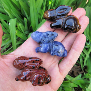 Carved Stone Rabbit Crystal Figurine - Mahogany Obdisian, Sodalite, Tigers Eye