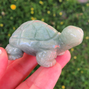 Carved Stone Turtle Crystal Figurine - Green  Aventurine Turtle Crystal Animal