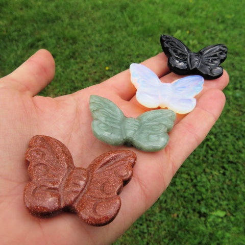Carved Stone Butterfly Crystal Figurine