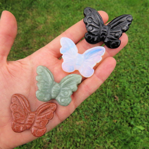 Carved Stone Butterfly Crystal Animal Figurines