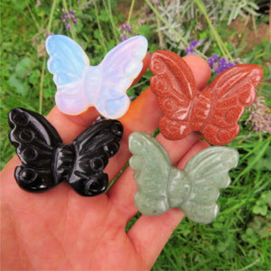 Carved Stone Butterfly Crystal - Obsidian, Opalite, Aventurine, Goldstone
