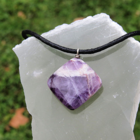 Chevron Amethyst Necklace - Black Cord Crystal Necklace for Men - Purple Stone