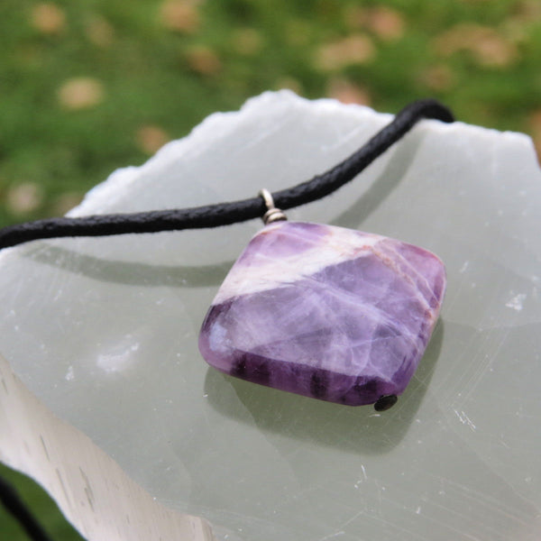 Chevron Amethyst Necklace for Men - Black Cord