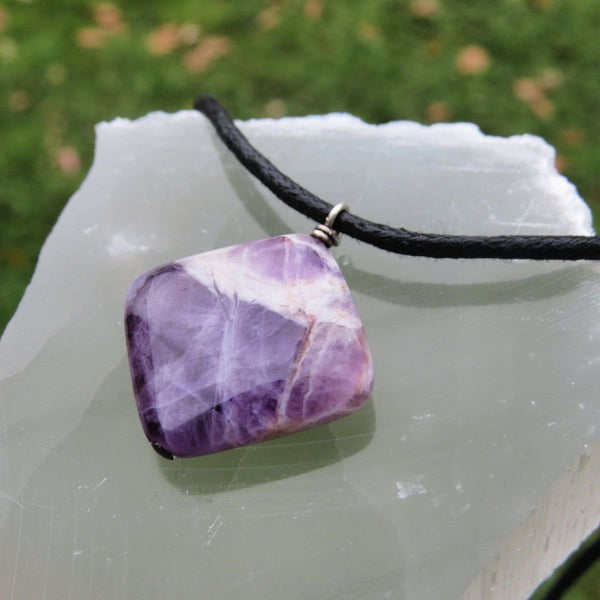 Chevron Amethyst Necklace on Black Cord - Purple Stone