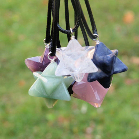 Crystal Merkaba Necklace - Stone Merkaba Star Tetrahedron - Metatrons Cube Crystal Necklace