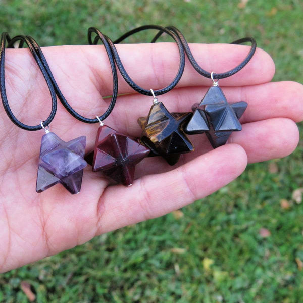 Merkaba Star Crystal Necklace - Carved Stone Tetrahedron