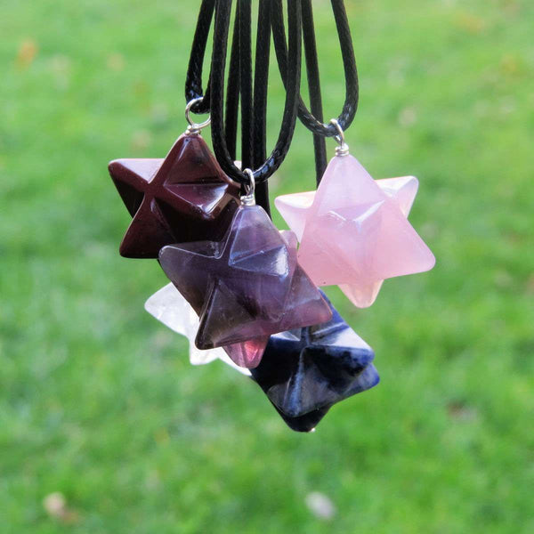 Crystal Merkaba Necklace on Black Cord