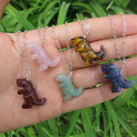 Crystal T-Rex Necklace | Carved Stone Dinosaur Necklace | T-Rex Jewelry