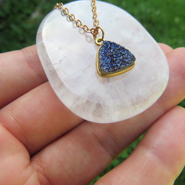 Dark Blue Druzy Necklace in Gold |  Crystal Choker | Druzy Jewelry