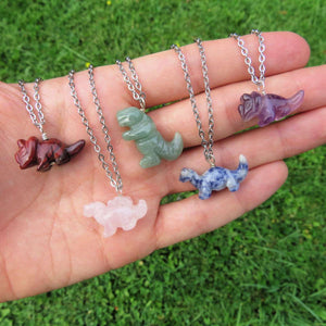 Carved Stone Dinosaur Crystal Necklace
