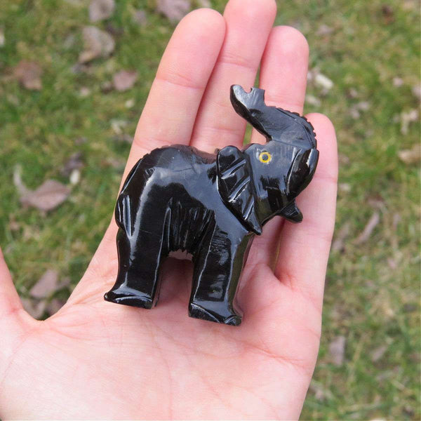 Carved Stone Elephant Crystal Figurine | Black Calcite Crystal Animal Carving