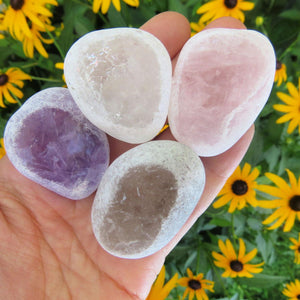 Ema Egg Window Stone | Amethyst, Clear Quartz, Smoky Quartz, Rose Quartz Seer Stone