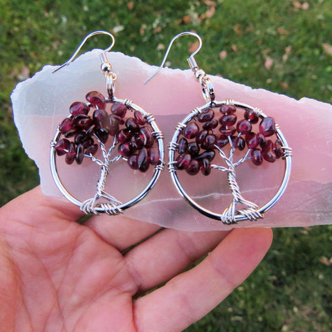 Red Garnet Crystal Tree of Life Earrings in Silver