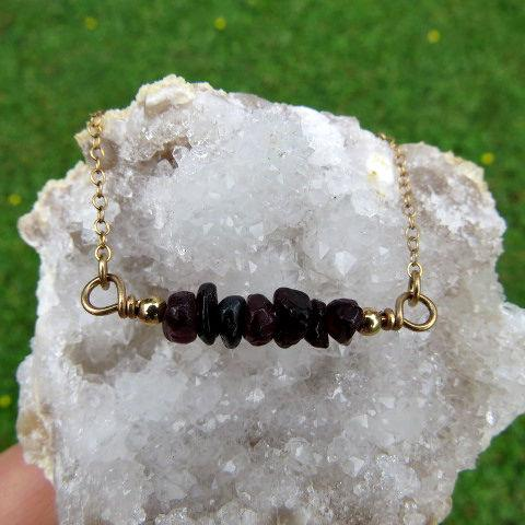 Red Garnet Necklace - Crystal Chip Stone Beads