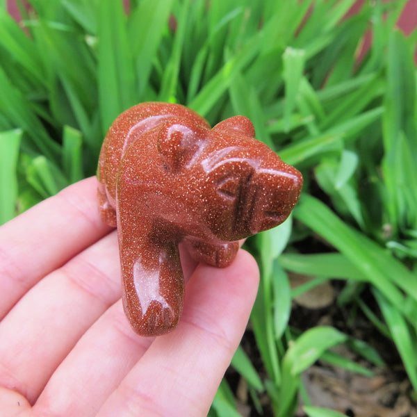 Red Goldstone Bear Statue Crystal Animal