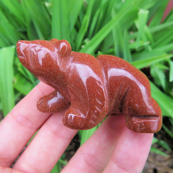 Red Goldstone Carved Crystal Bear Figurine