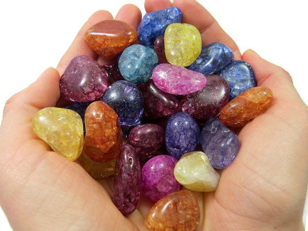 Crackle Quartz Crystal - Dyed Quartz Tumbled Stones