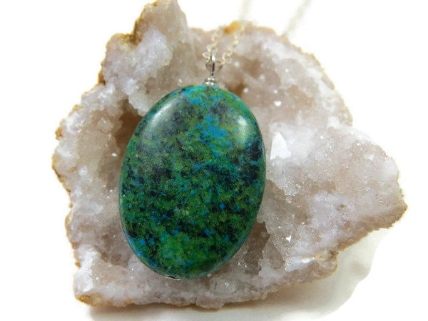 Green Stone Crystal Chrysocolla Necklace