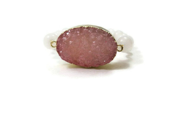 Large Pink Druzy and White Jade Bracelet