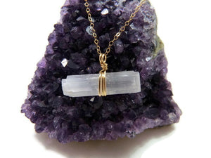 Raw Selenite Necklace in Gold