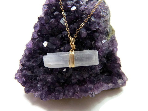 Raw Selenite Necklace in Gold - Selenite Crystal Wand Necklace